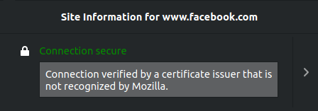 Certificate Not Recognised warning in Firefox